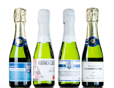 small corporate personalised champagne bottles
